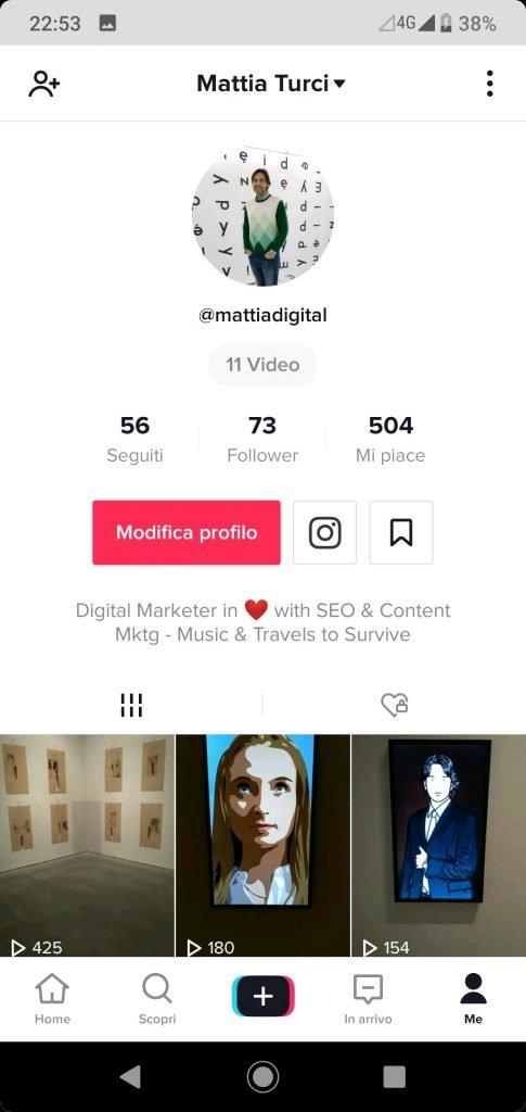 Personalizza il profilo - Clicca su Modifica Profilo