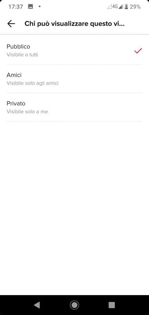 Come rendere privato un video in TikTok - spostare l'opzione da pubblico a privato